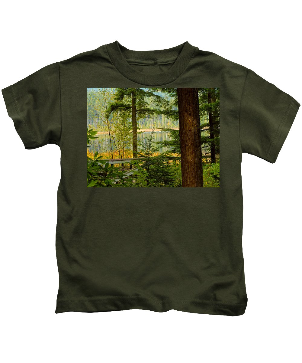 Whonnock Lake Kids T-Shirt featuring the photograph Whonnock Lake Through The Trees by Sharon Talson