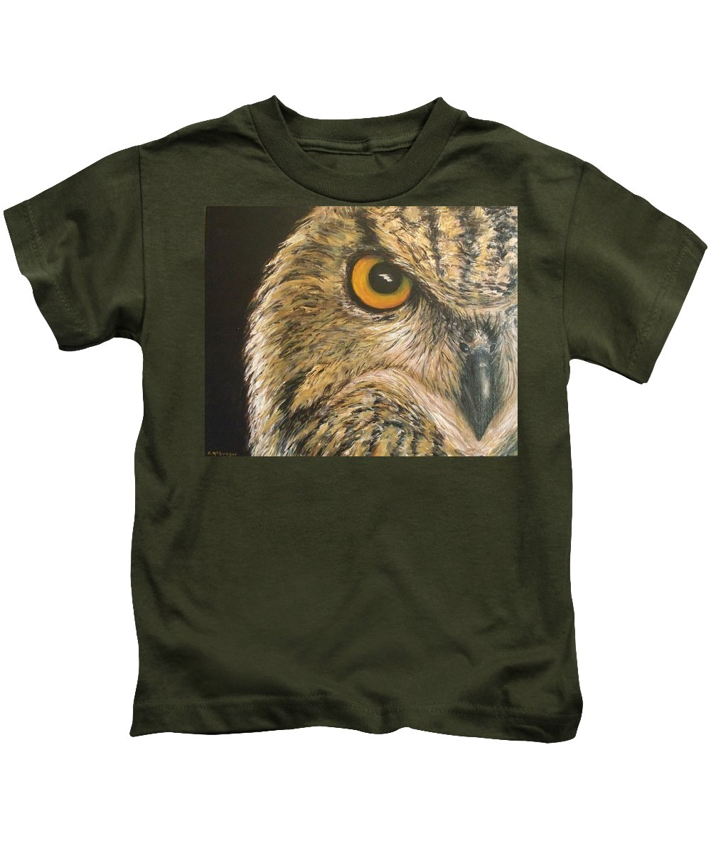 Owl Kids T-Shirt featuring the painting Whooo Goes There by Cathy McGregor