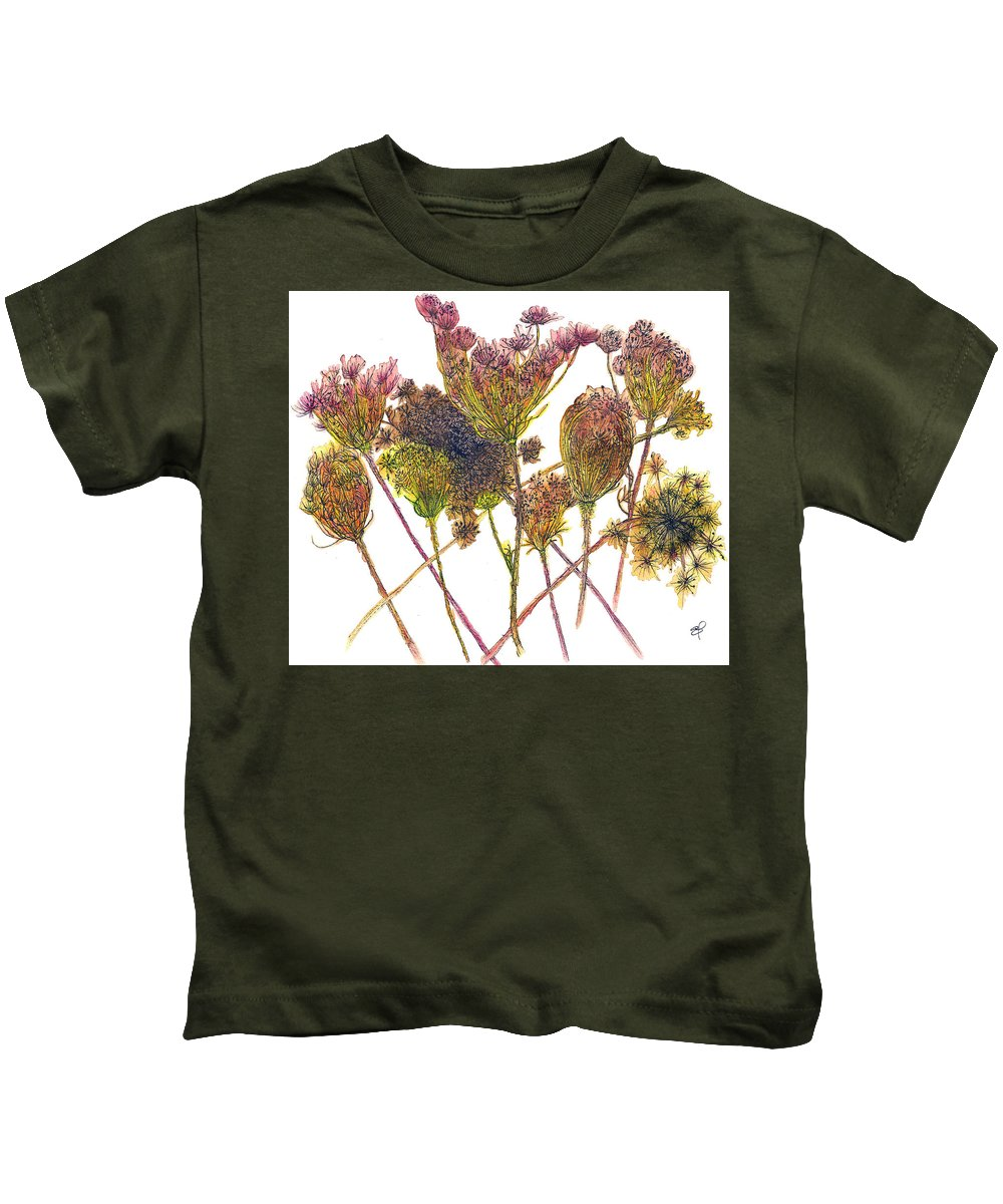 Wild Carrot Kids T-Shirt featuring the drawing Wild Carrot by Elizabeth Thorstenson