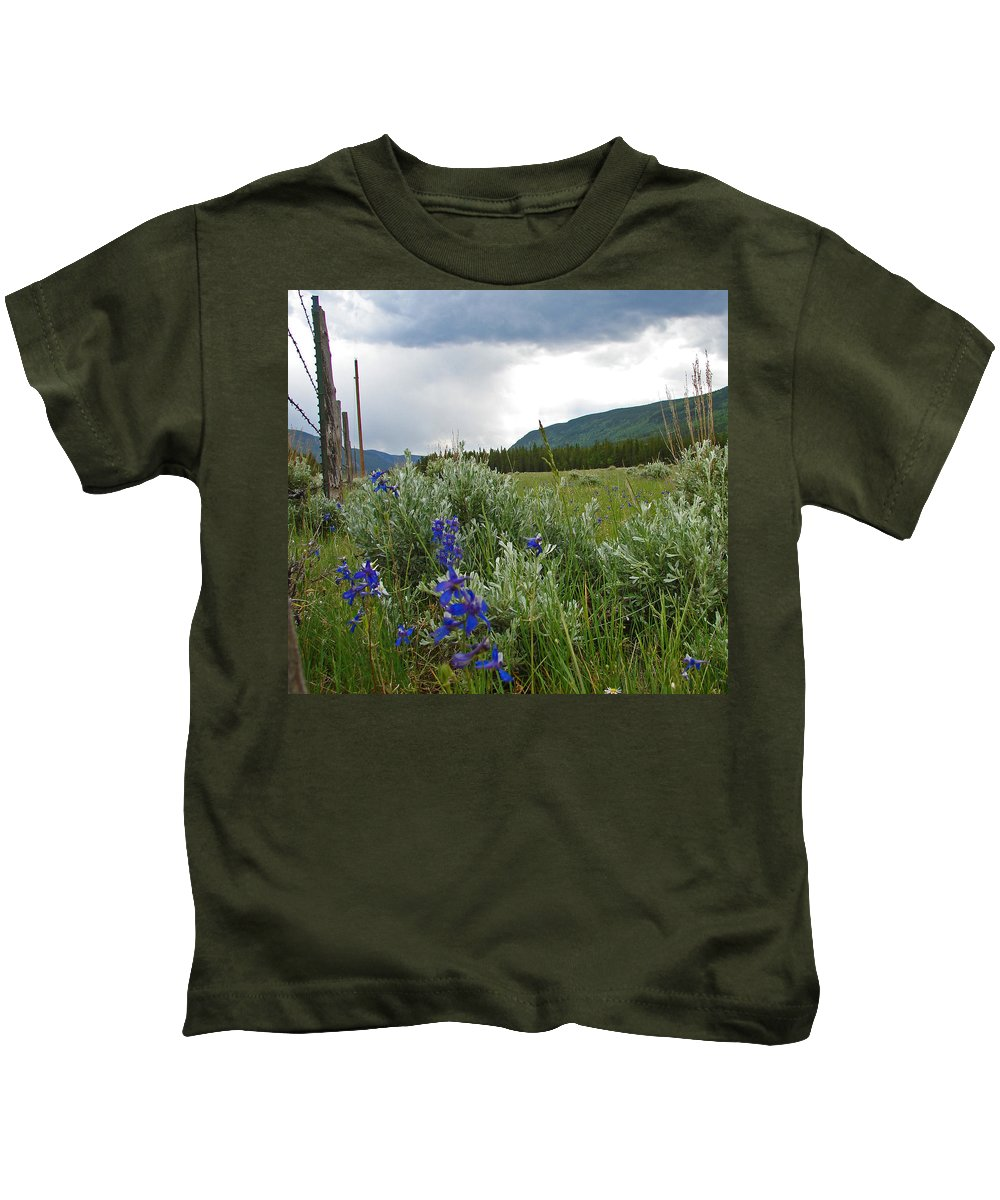 Wild Flowers Kids T-Shirt featuring the photograph Wild Delphinium by Heather Coen