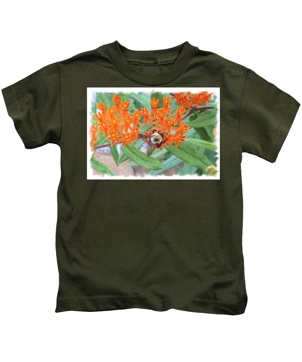 Flower Kids T-Shirt featuring the photograph Wild Flowers And Bumble Bees by Robin Ayers