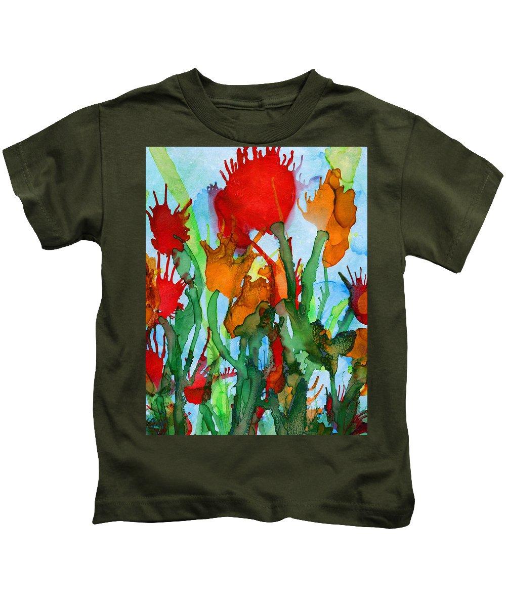 Abstract Kids T-Shirt featuring the digital art Wild Flowers by Klara Acel