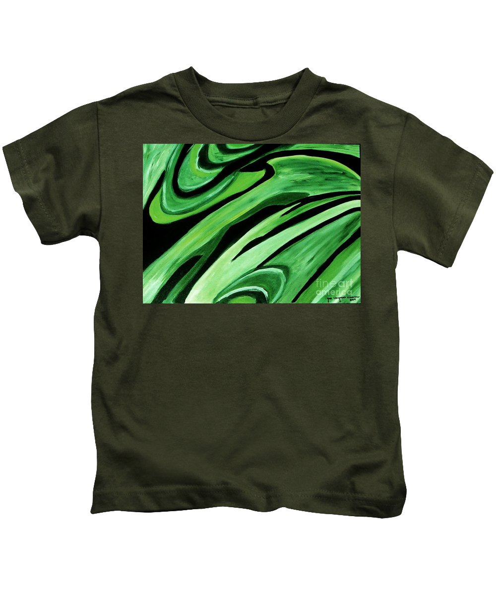 Painting Kids T-Shirt featuring the painting Wild Green by Yael VanGruber