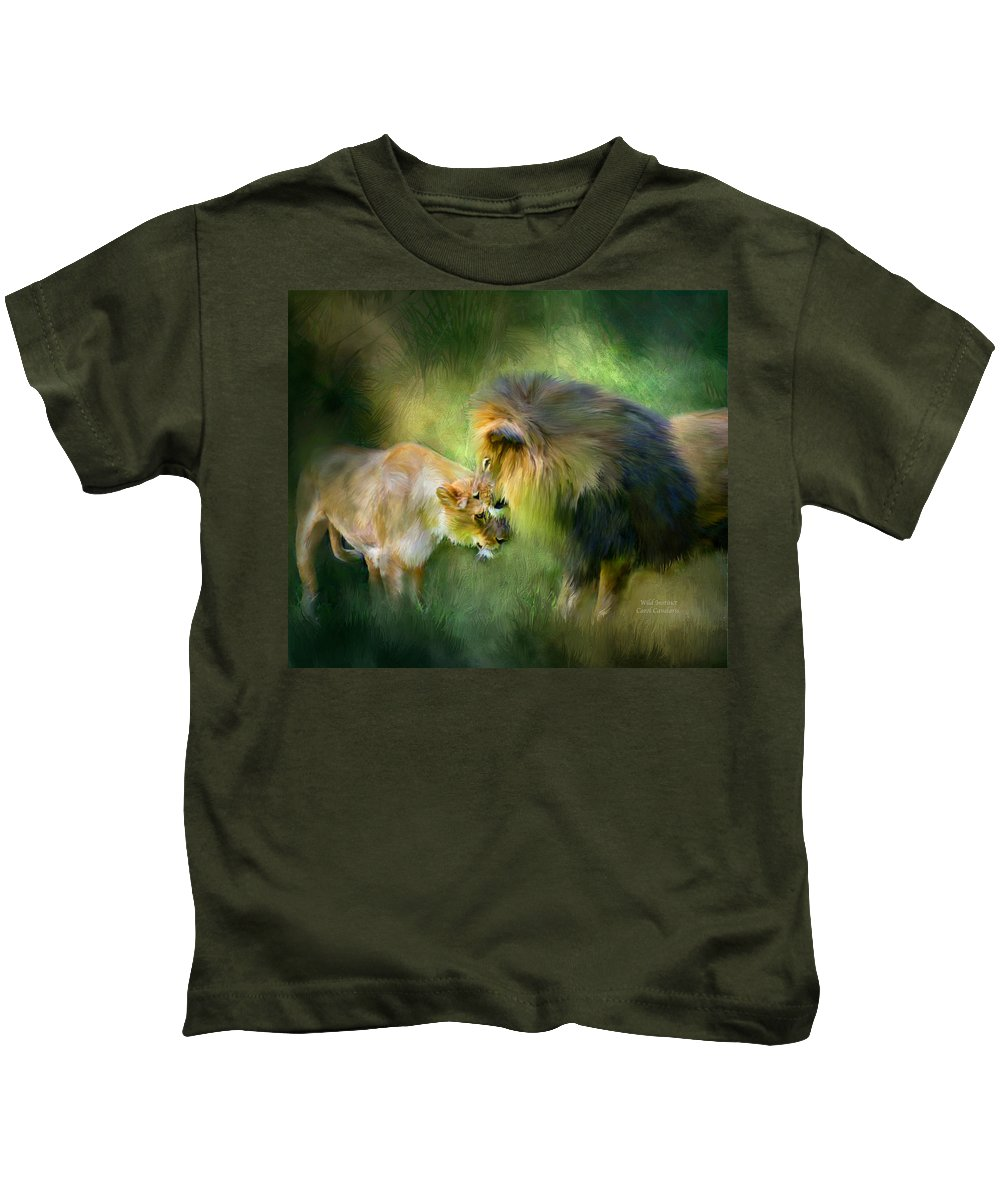 Lion Kids T-Shirt featuring the mixed media Wild Instinct by Carol Cavalaris