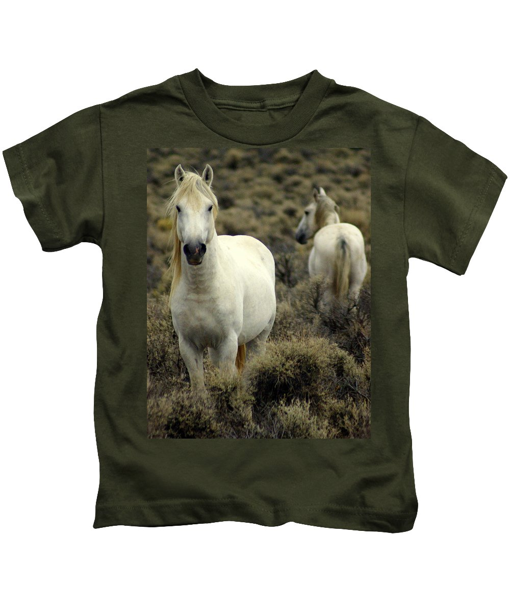 Wild Horses Kids T-Shirt featuring the photograph Wild Stallion by Marty Koch