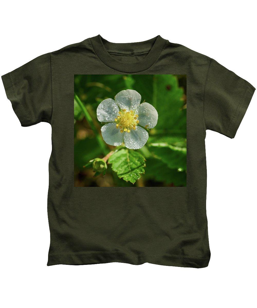 Finland Kids T-Shirt featuring the photograph Wild Strawberry Flower by Jouko Lehto