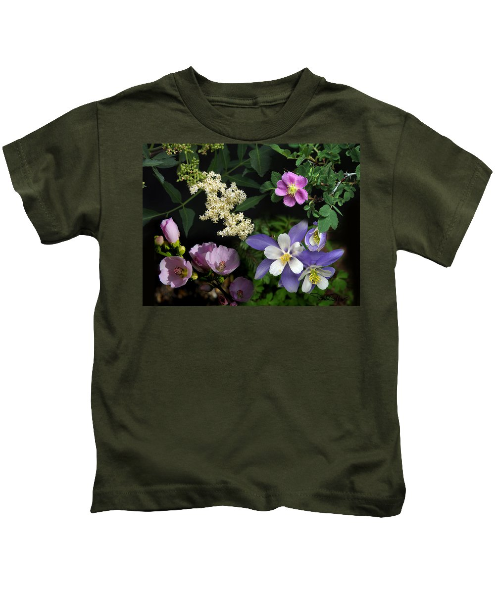 Nature Kids T-Shirt featuring the photograph Wildflower Collage by David Salter
