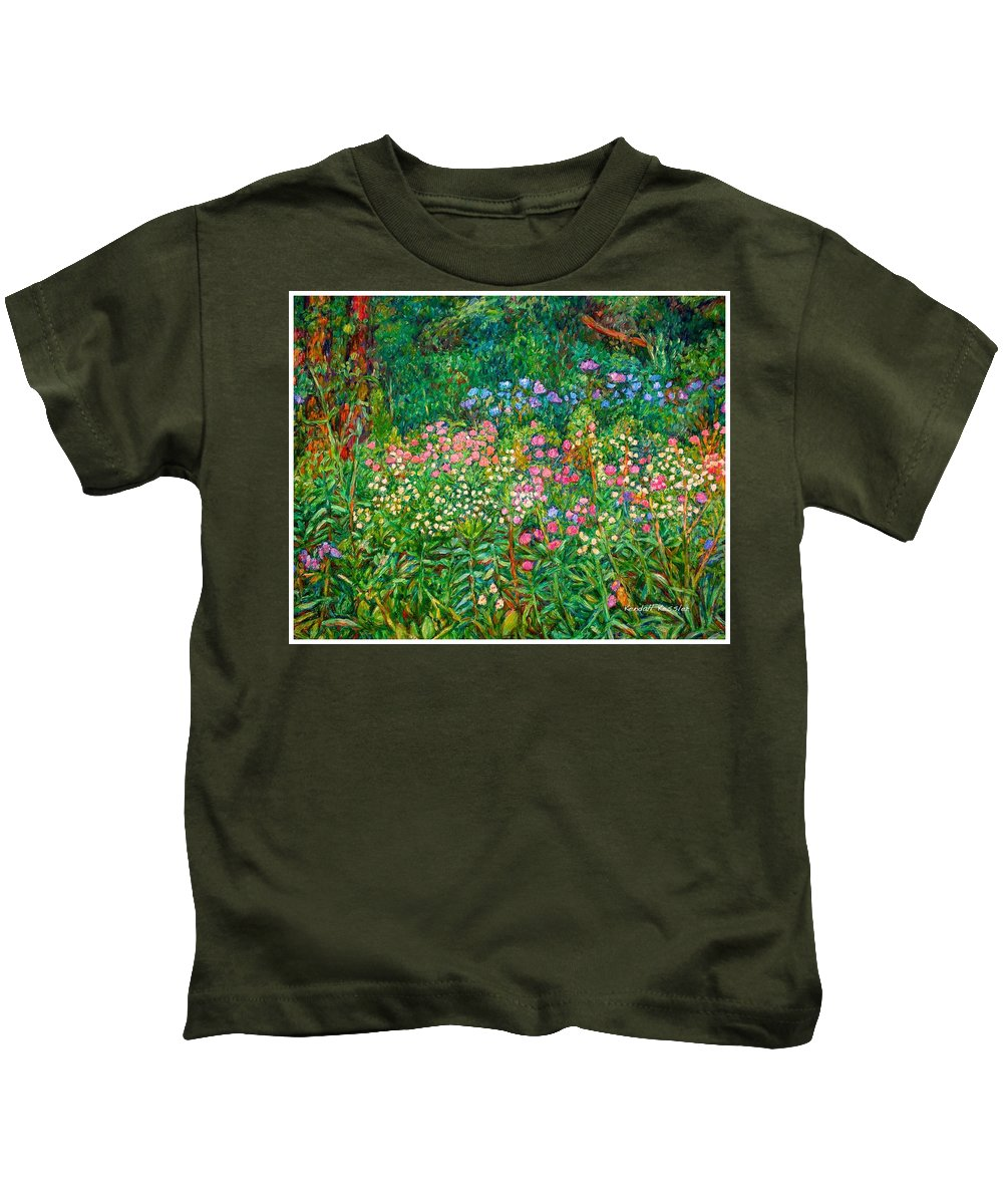 Floral Kids T-Shirt featuring the painting Wildflowers Near Fancy Gap by Kendall Kessler