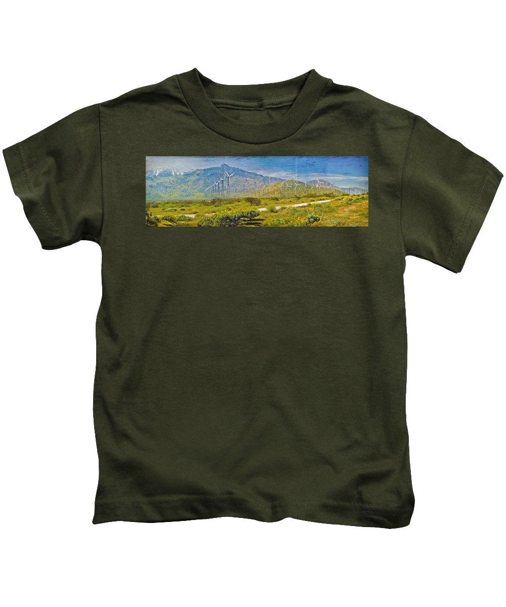 Wind Turbine Farm Palm Springs Ca Kids T-Shirt featuring the photograph Wind Turbine Farm Palm Springs Ca by David Zanzinger