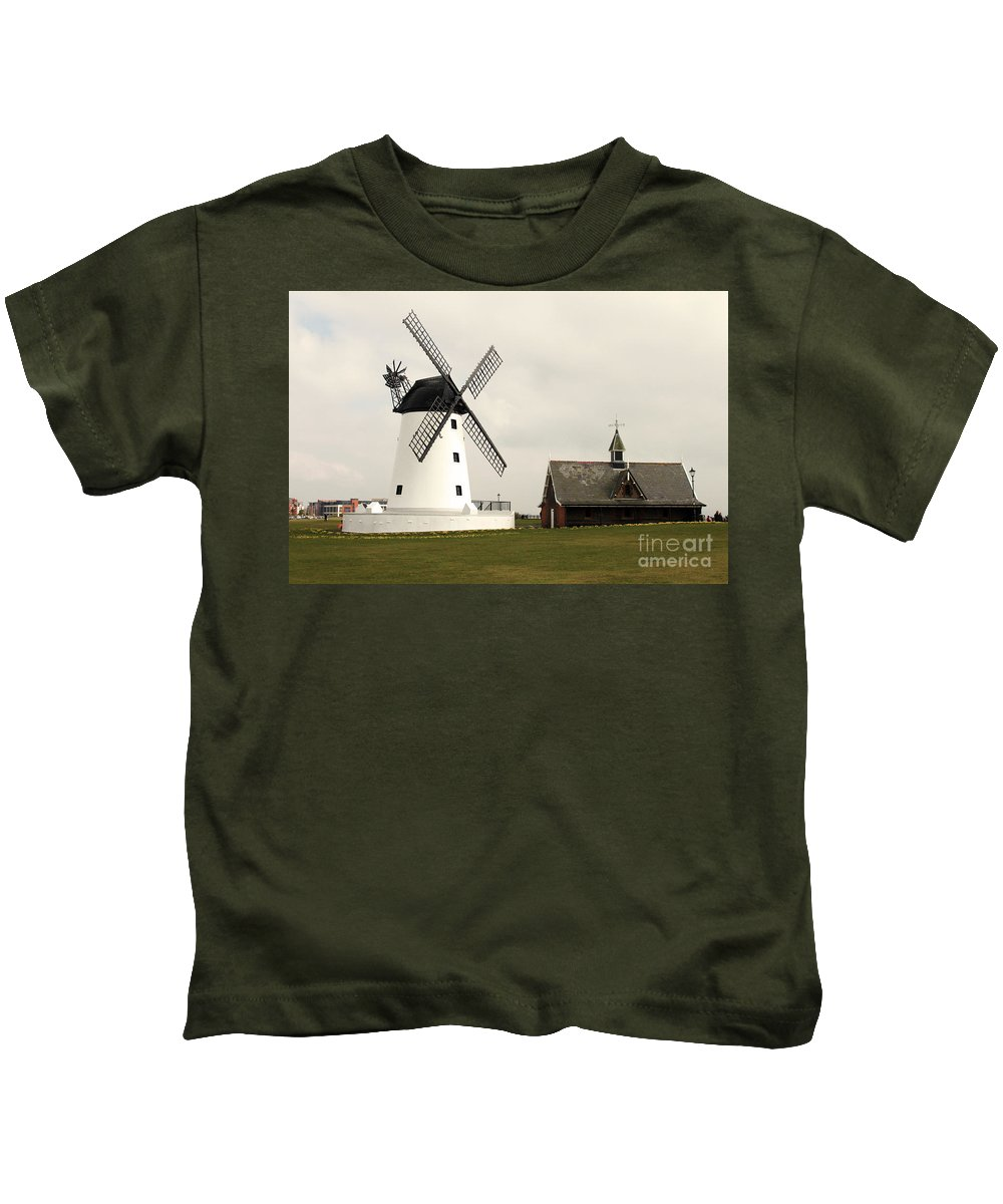Windmill Kids T-Shirt featuring the photograph Windmill At Lytham St. Annes - England by Doc Braham
