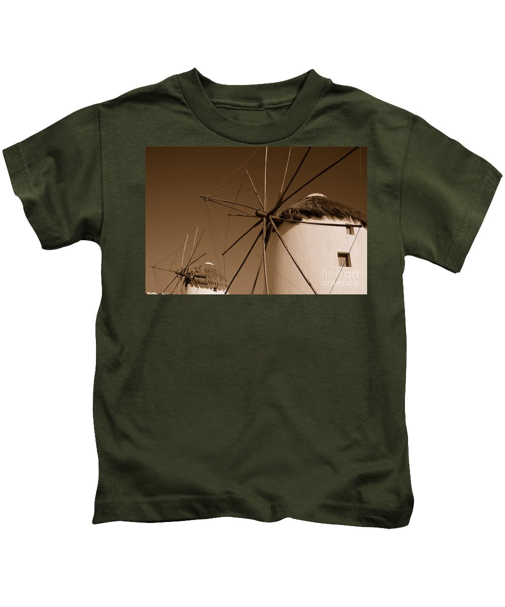 Mykonos Kids T-Shirt featuring the photograph Windmills In Sepia by Joe Ng