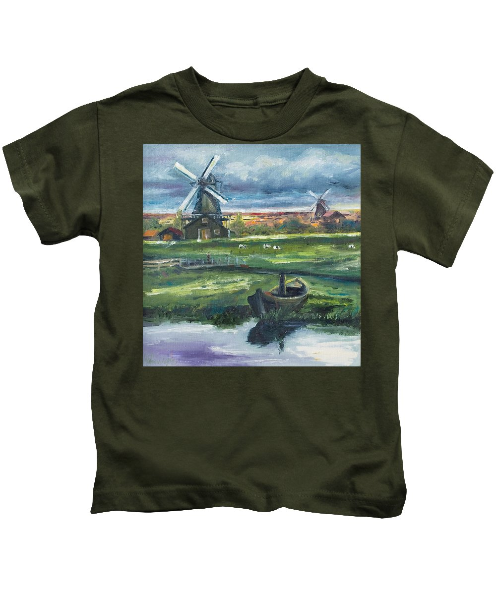 Water Kids T-Shirt featuring the painting Windmills by Rick Nederlof