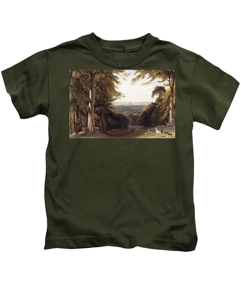 Deer Kids T-Shirt featuring the painting Windsor Castle From The Deer Park by William Daniell