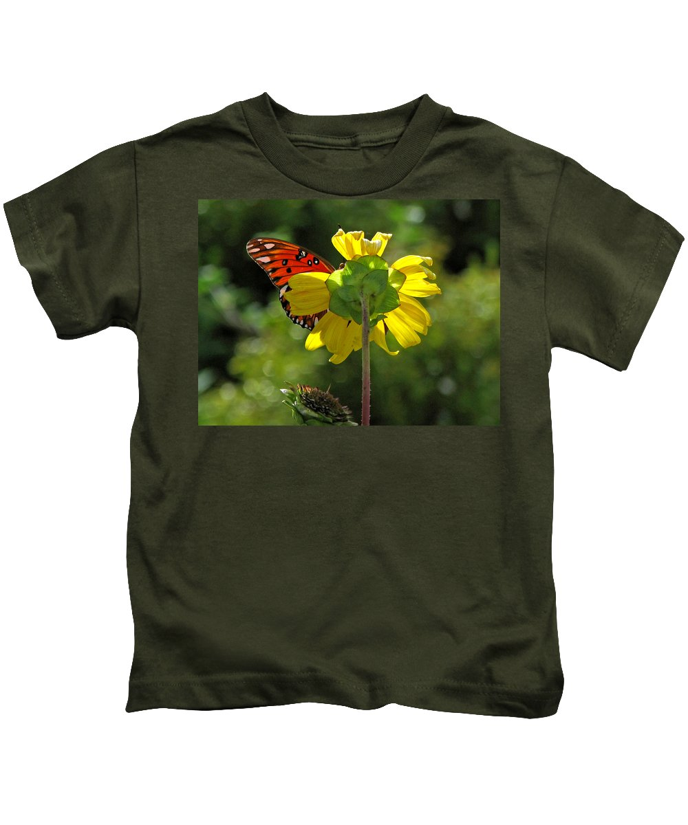Nature Kids T-Shirt featuring the photograph Wing Flower by Peg Urban