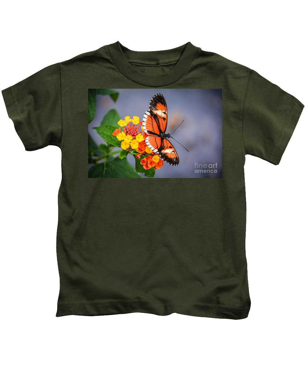 Blossoms Kids T-Shirt featuring the photograph Winged Tiger by Lisa Kilby