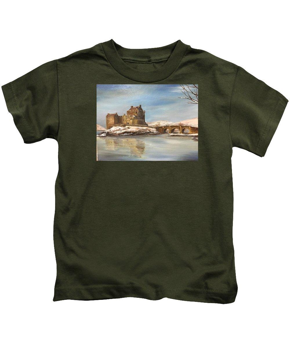 Landscape Kids T-Shirt featuring the painting Winter At Eilean Donan by Didem Gungor Walker