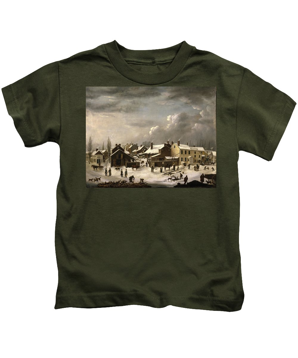 Francis Guy Kids T-Shirt featuring the painting Winter Scene In Brooklyn by Francis Guy