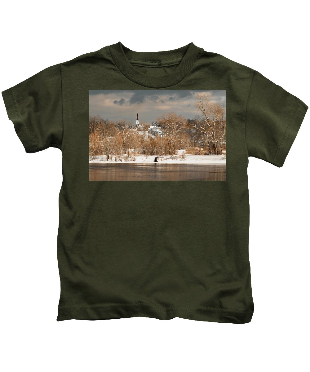 Winter Kids T-Shirt featuring the photograph Winter View Of Allenstown by Greg Fortier
