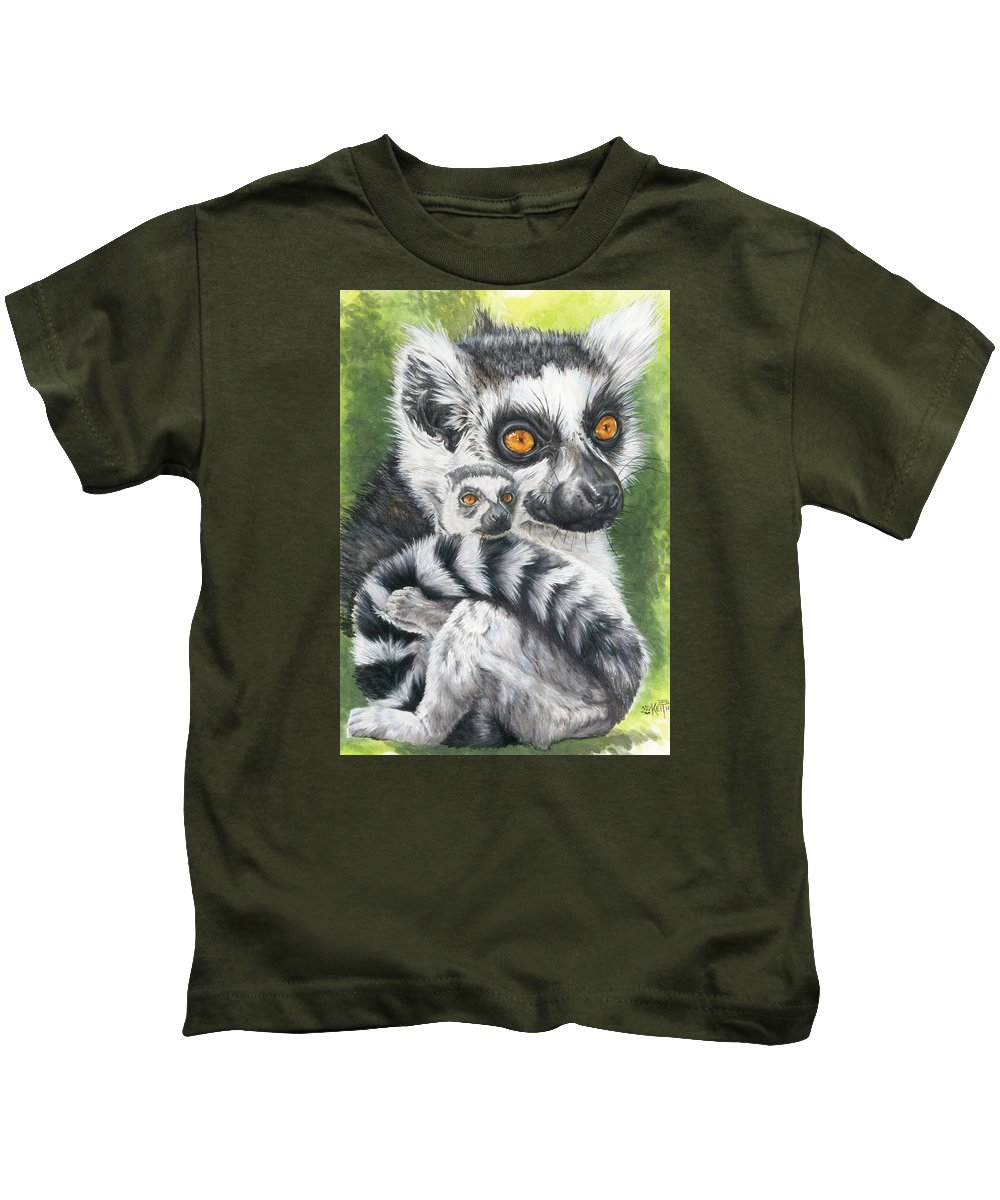 Lemur Kids T-Shirt featuring the mixed media Wistful by Barbara Keith