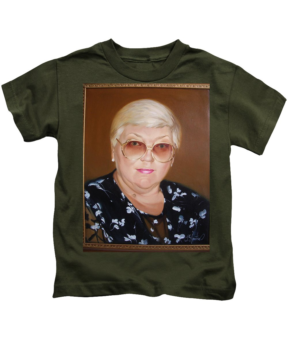 Art Kids T-Shirt featuring the painting Woman 1 by Sergey Ignatenko