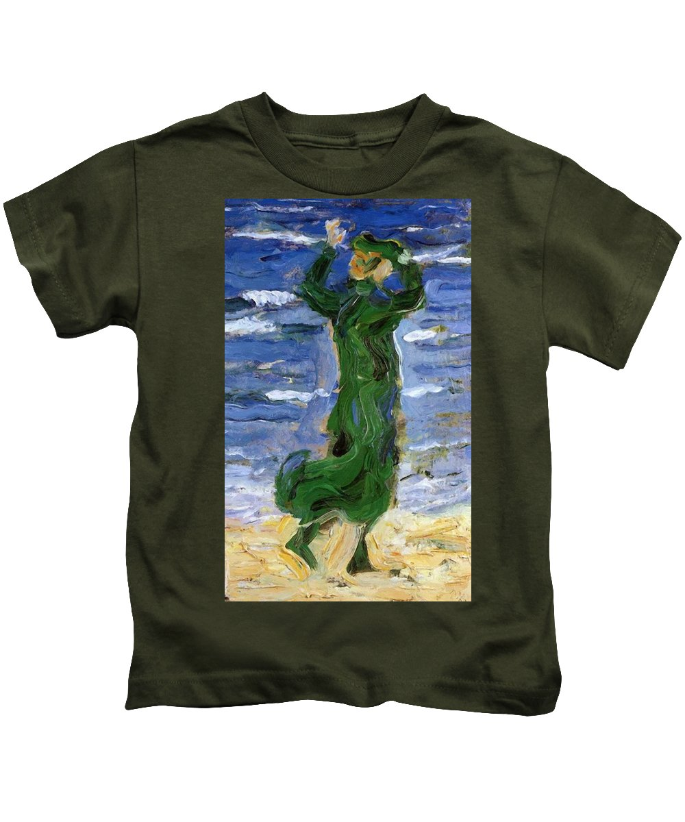 Woman Kids T-Shirt featuring the painting Woman In The Wind By The Sea 1907 by Marc Franz