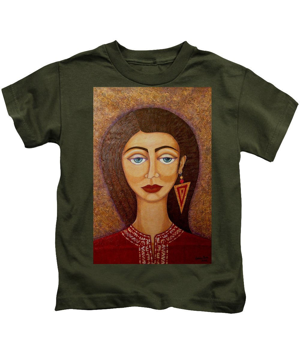 Market Kids T-Shirt featuring the painting Woman S Market by Madalena Lobao-Tello