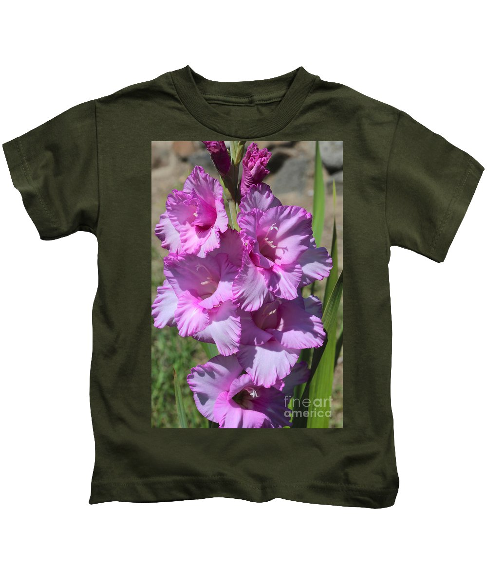 Gladiolus Kids T-Shirt featuring the photograph Wonderful Pink Gladiolus by Carol Groenen