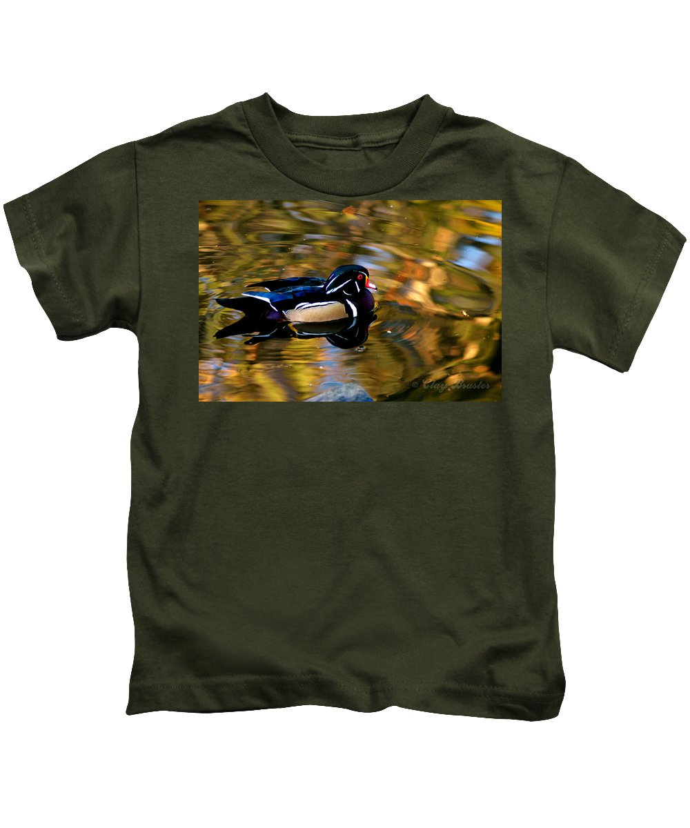 Clay Kids T-Shirt featuring the photograph Wood Duck by Clayton Bruster