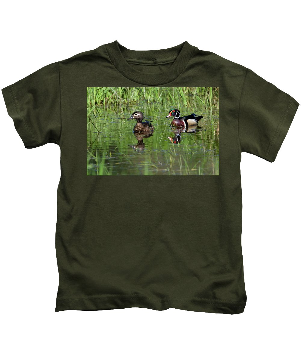 Animal Kids T-Shirt featuring the photograph Wood Duck Couple by Randall Ingalls