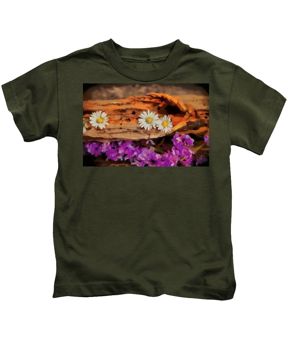 Old Kids T-Shirt featuring the painting Wood - Id 16235-142749-1958 by S Lurk