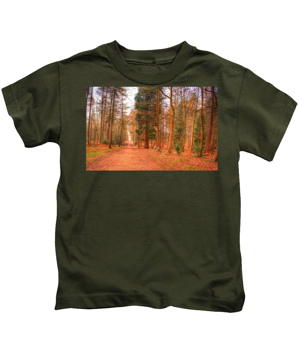 Path Kids T-Shirt featuring the photograph Woodland Path by Chris Day