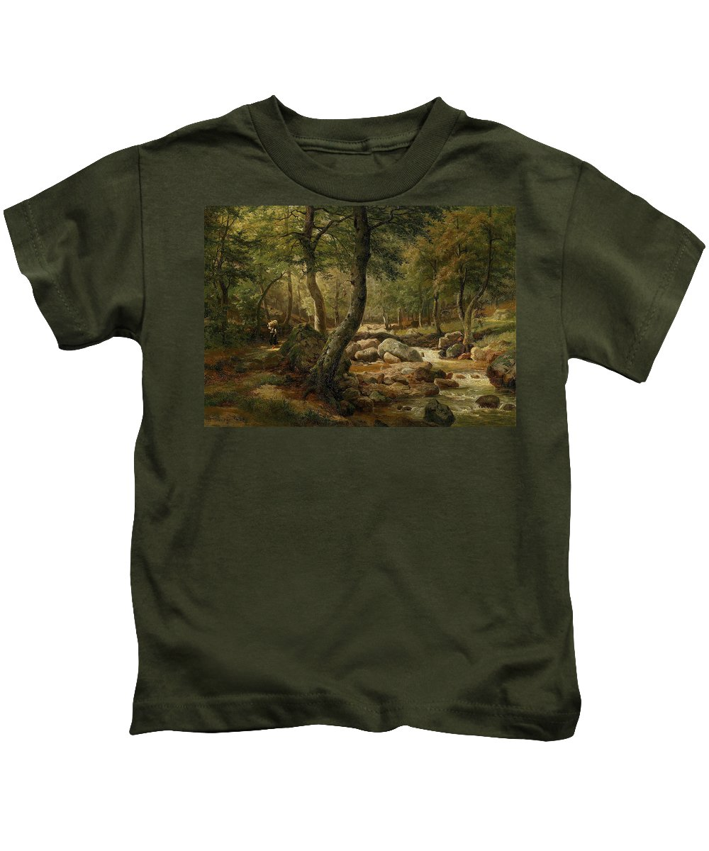 Marie Helene Strohmeyer (1834-1934) Countrywoman By A Woodland Stream Kids T-Shirt featuring the painting Woodland Stream by MotionAge Designs