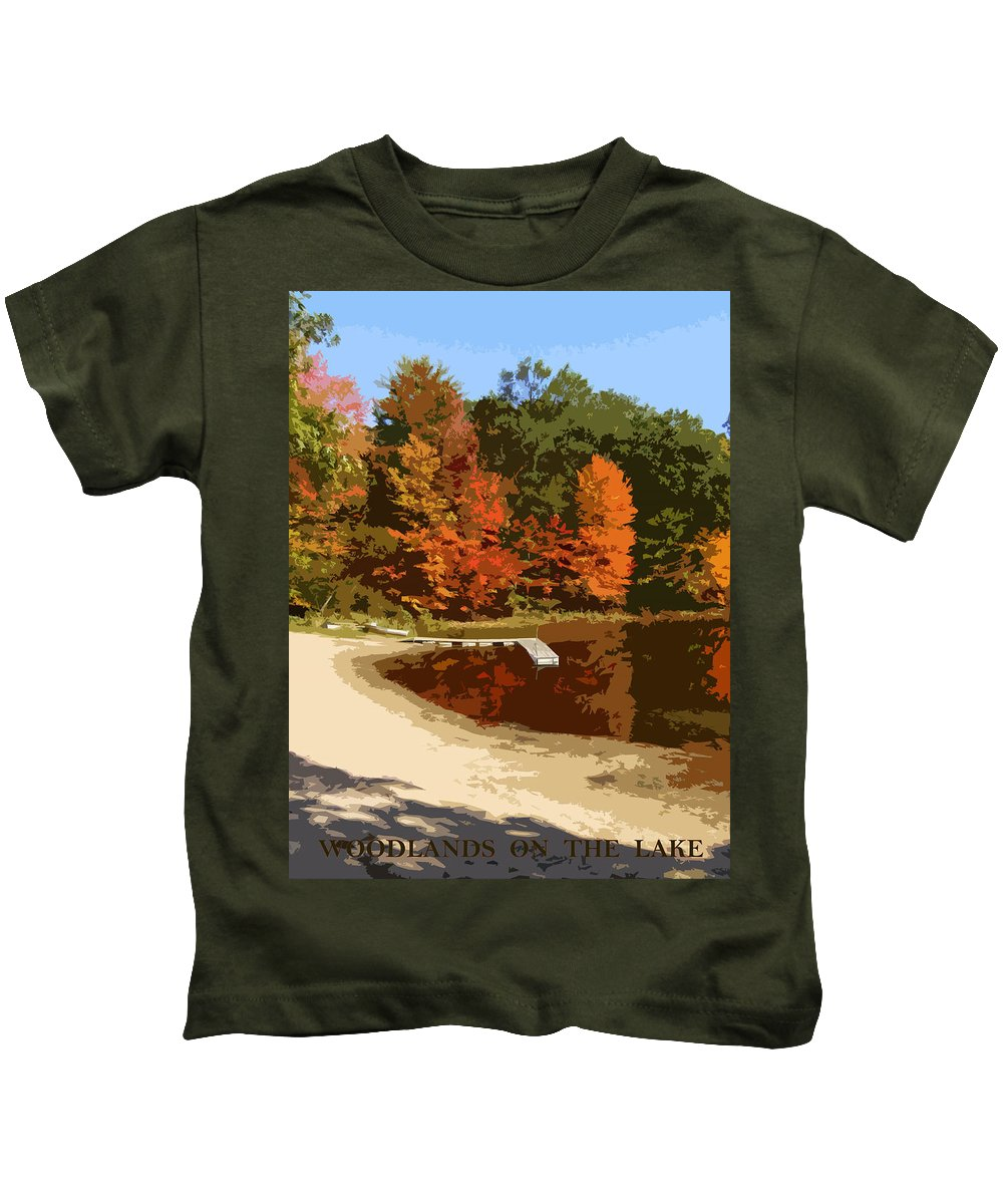 Autumn Kids T-Shirt featuring the photograph Woodlands On The Lake by Michelle Calkins