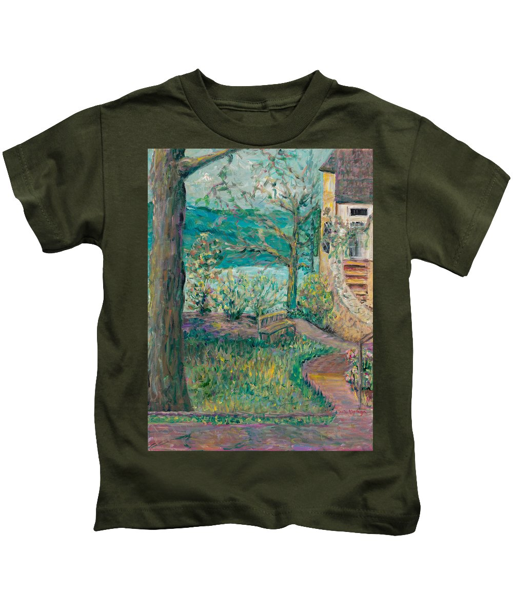 Big Cedar Lodge Kids T-Shirt featuring the painting Worman House At Big Cedar Lodge by Nadine Rippelmeyer