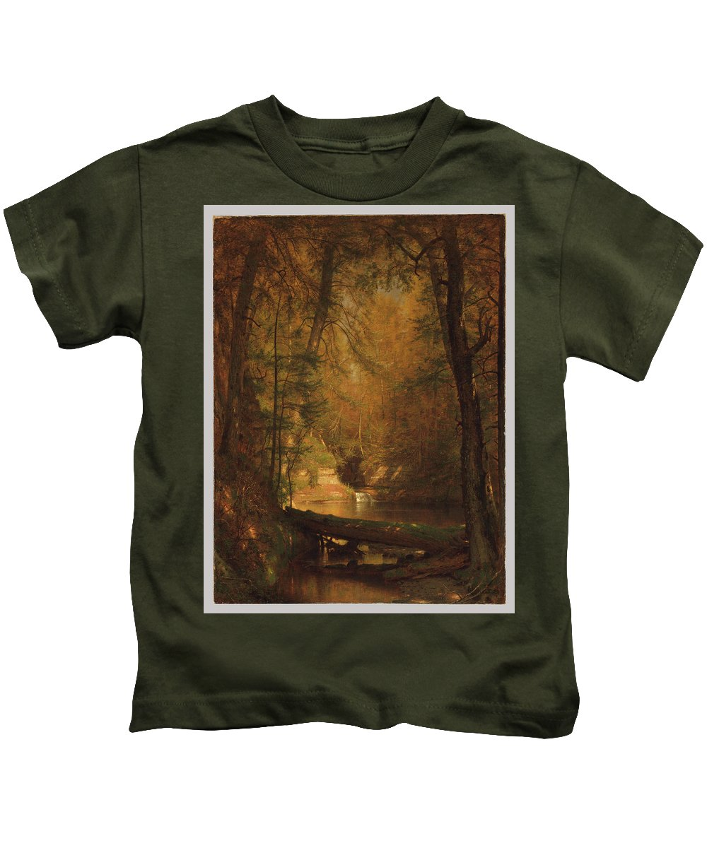 The Trout Pool Kids T-Shirt featuring the painting Worthington Whittredge by MotionAge Designs