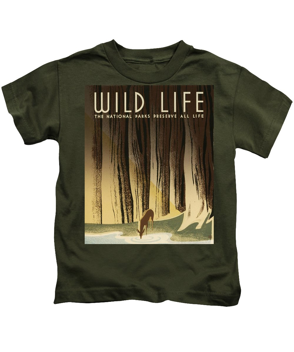 Wpa Posters Kids T-Shirt featuring the digital art Wpa Wildlife 2 by David Lane