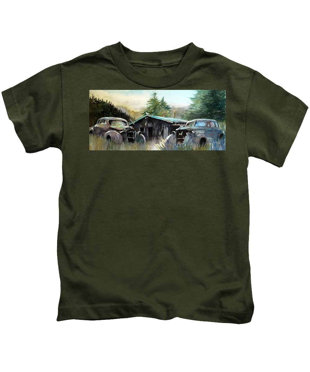 Rusty Cars Kids T-Shirt featuring the painting Yard Mates by Ron Morrison