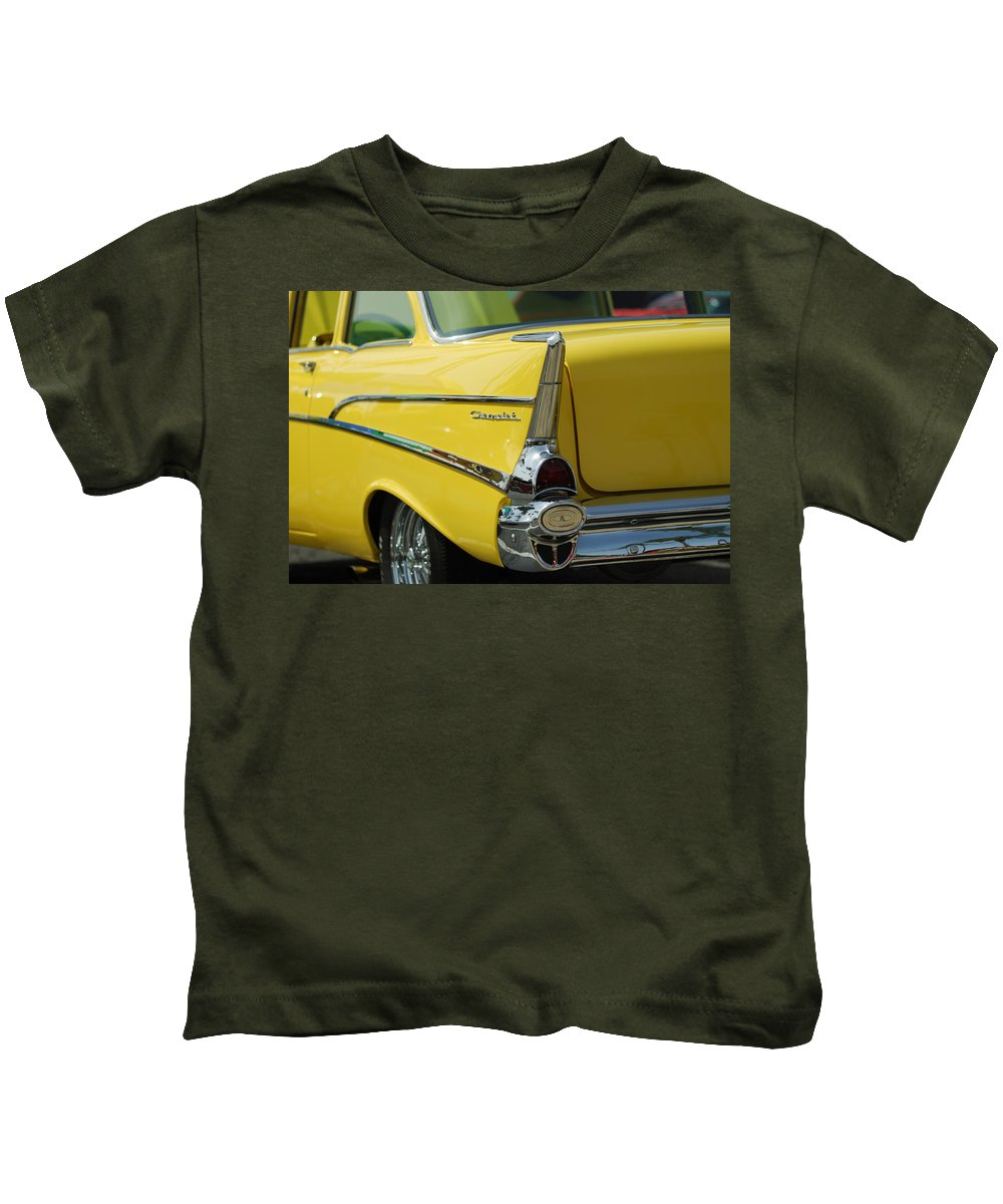 Car Kids T-Shirt featuring the photograph Yellow Chevrolet Tail Fin by Jill Reger