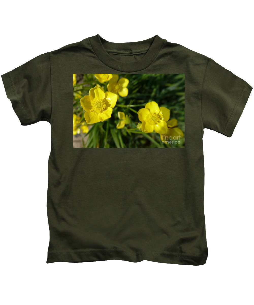 A Path Of Petals Kids T-Shirt featuring the photograph Yellow Flowers by Jean Bernard Roussilhe