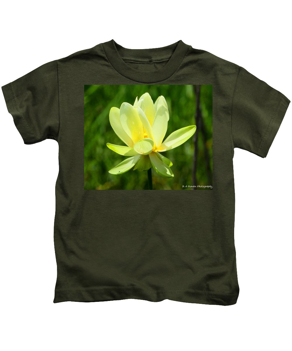 Yellow Lotus Kids T-Shirt featuring the photograph Yellow Lotus by Barbara Bowen