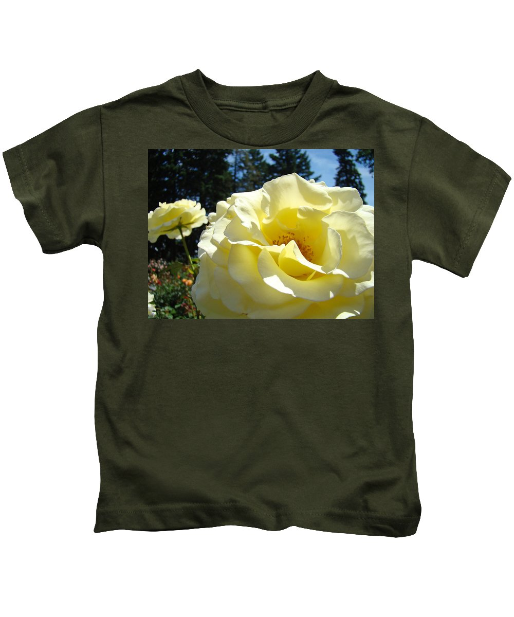 Rose Kids T-Shirt featuring the photograph Yellow Rose Garden Landscape 3 Roses Art Prints Baslee Troutman by Baslee Troutman