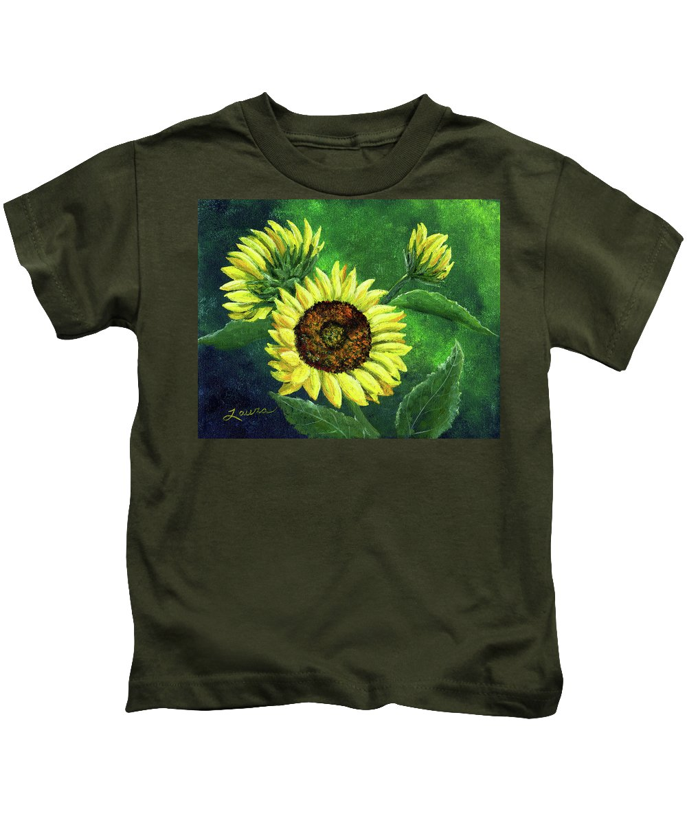 Sunflower Kids T-Shirt featuring the painting Yellow Sunflowers On Green by Laura Iverson