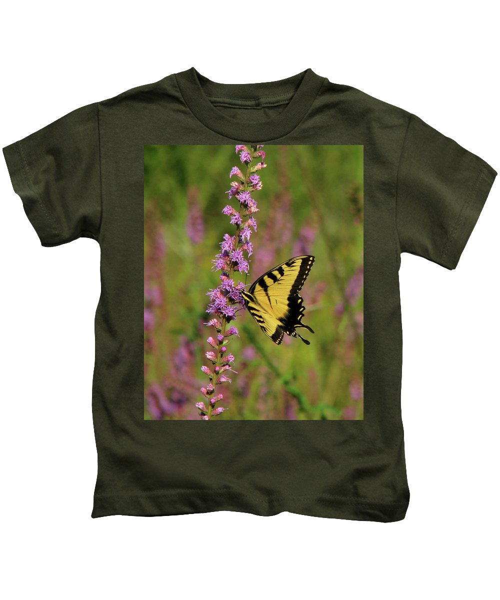 Nature Kids T-Shirt featuring the photograph Yellow Tiger by Peg Urban