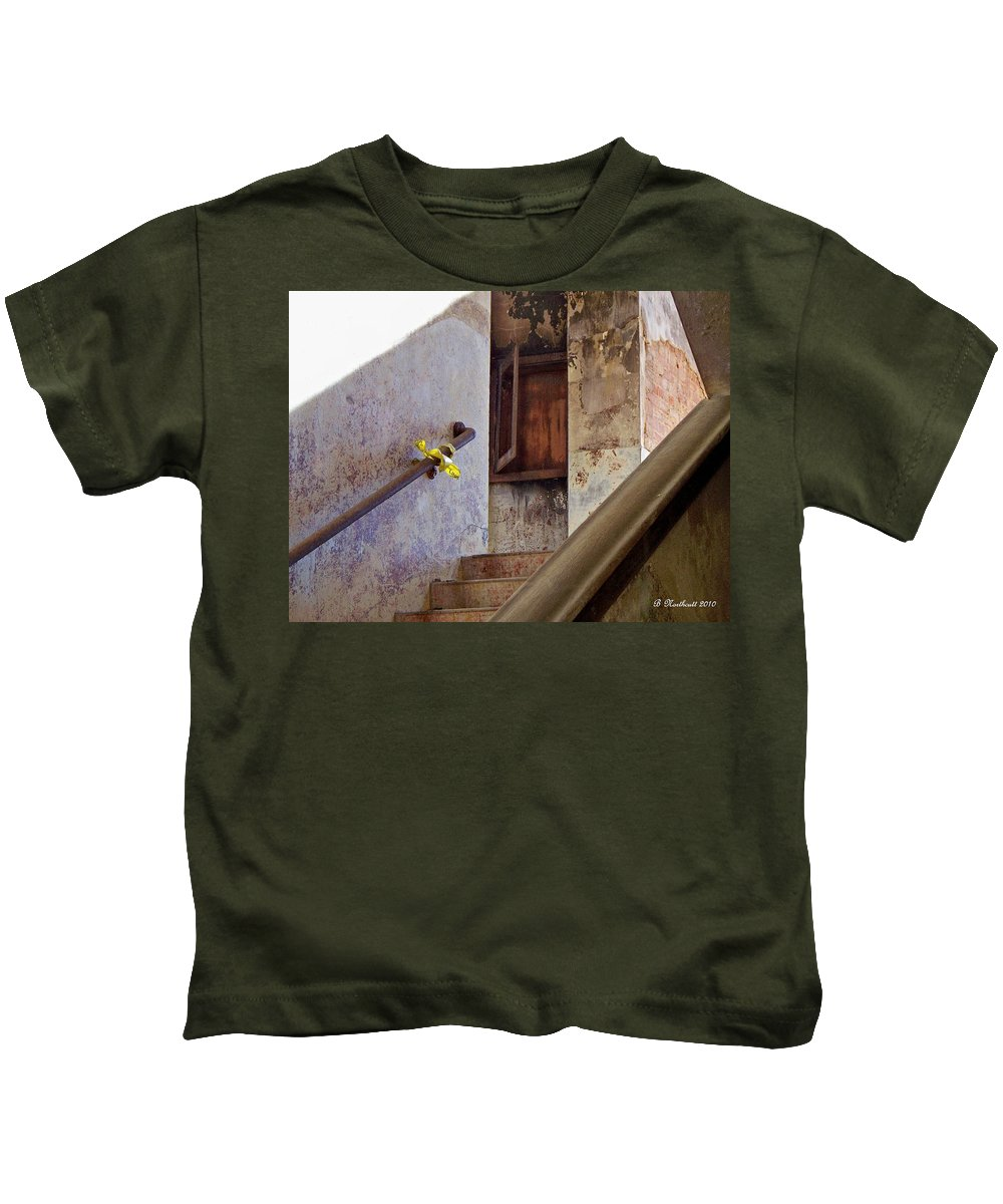 Stair Kids T-Shirt featuring the photograph Yesterday's Bulletin by Betty Northcutt