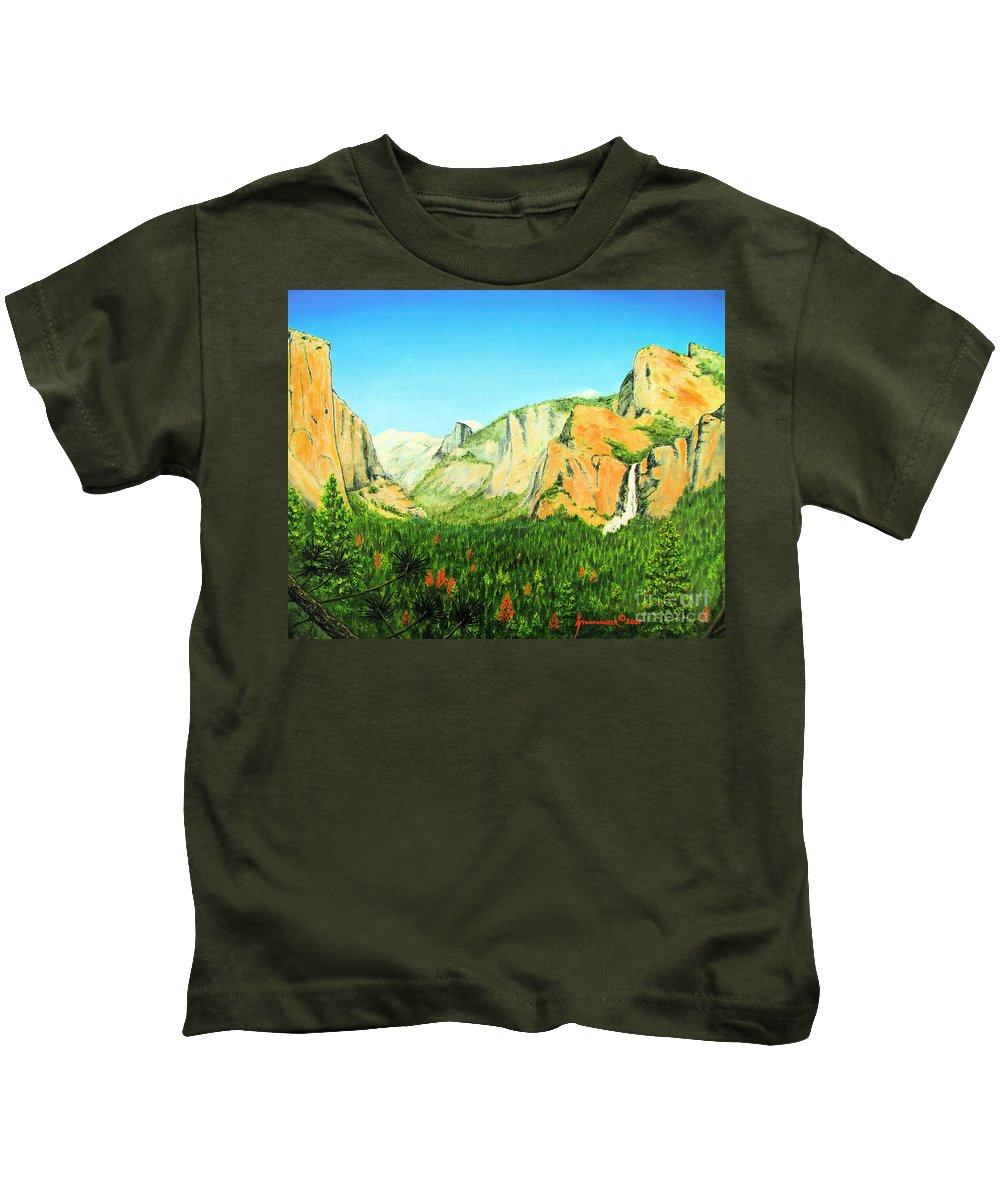 Yosemite National Park Kids T-Shirt featuring the painting Yosemite National Park by Jerome Stumphauzer