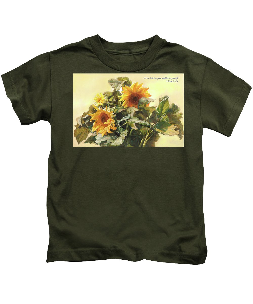 New Testament Kids T-Shirt featuring the painting You Shall Love Your Neighbor As Yourself by Svitozar Nenyuk