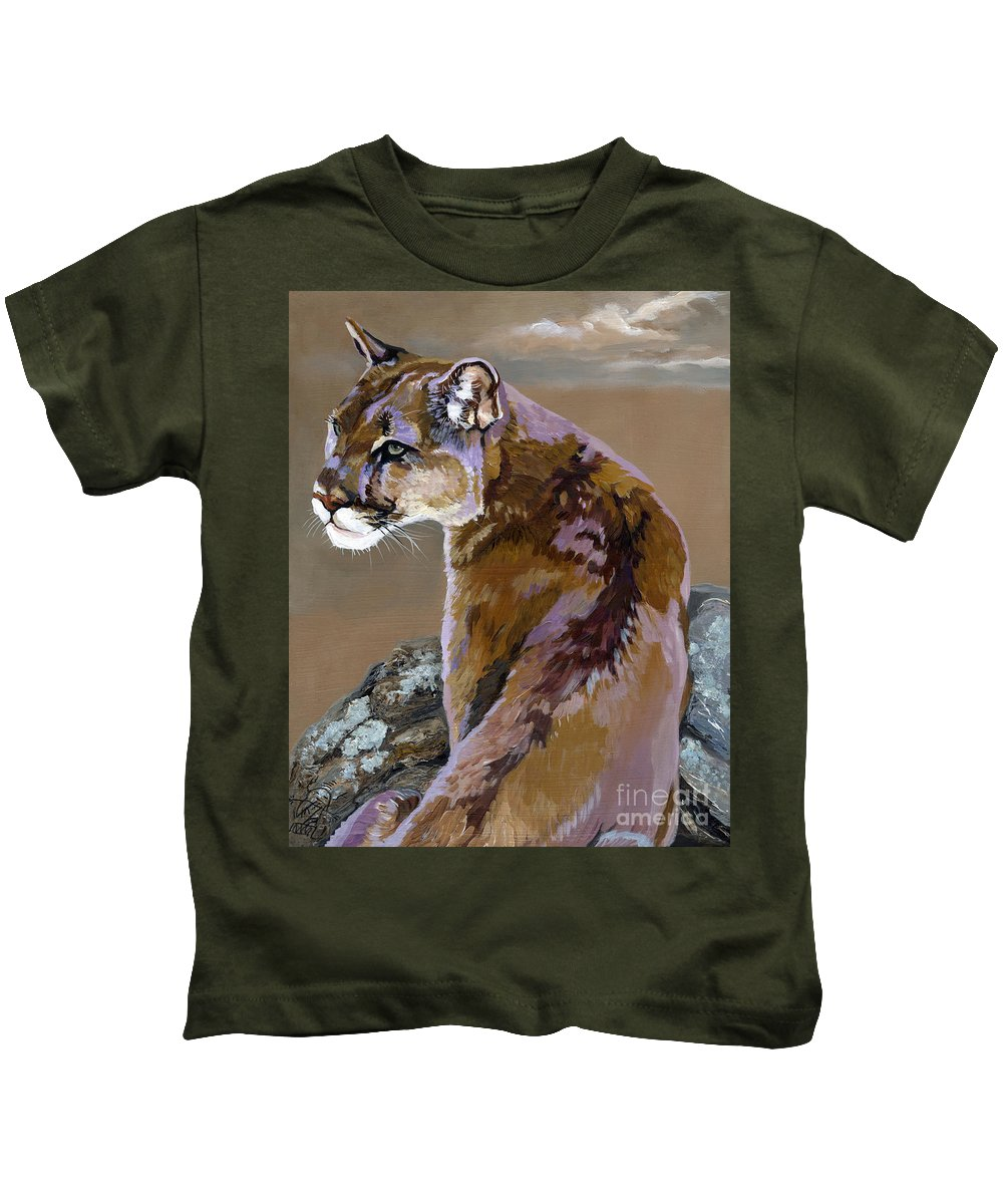 Cougar Kids T-Shirt featuring the painting You Talking To Me by J W Baker