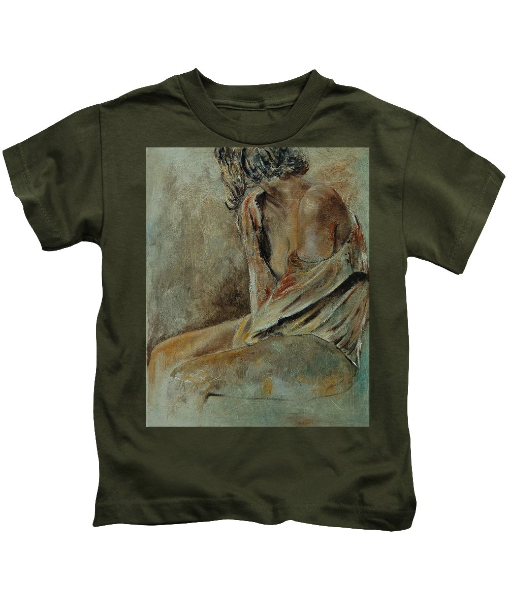 Gir Kids T-Shirt featuring the painting Young Girl 45905040 by Pol Ledent