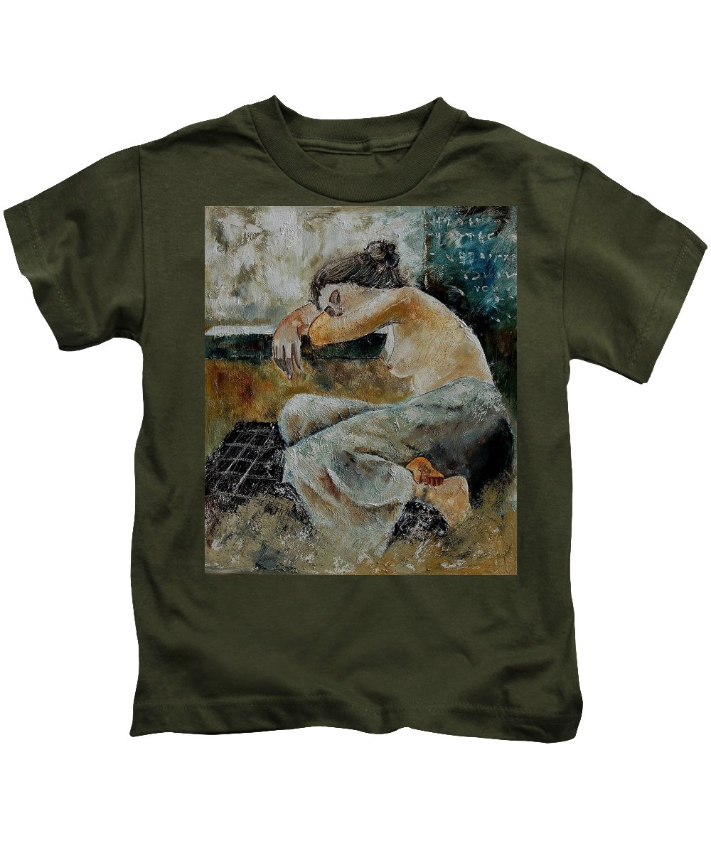 Girl Kids T-Shirt featuring the painting Young Girl 679050 by Pol Ledent