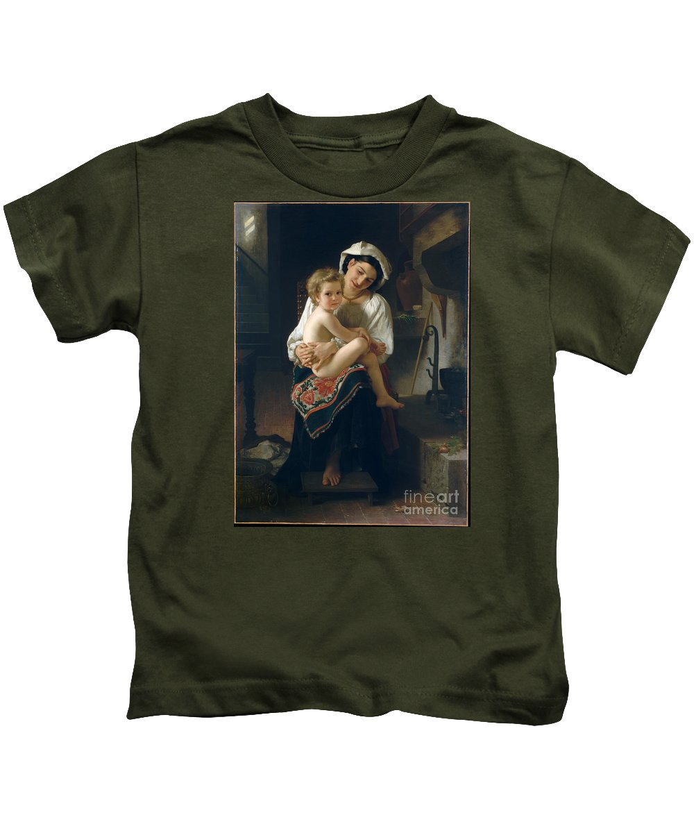 Theodore Chasserriau Kids T-Shirt featuring the painting Young Mother Gazing At Her Child by MotionAge Designs